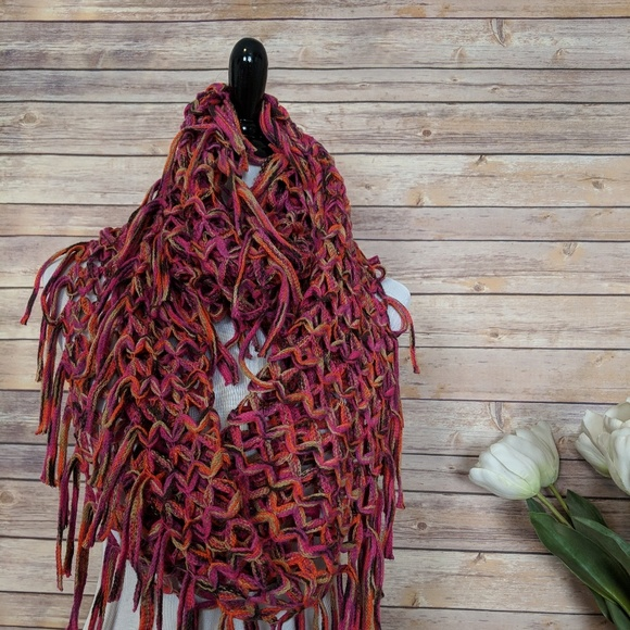 Accessories Crochet Infinity Scarf With Fringe Poshmark